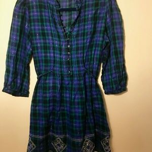 Plaid Tie-Back Tunic with 3/4 Sleeves